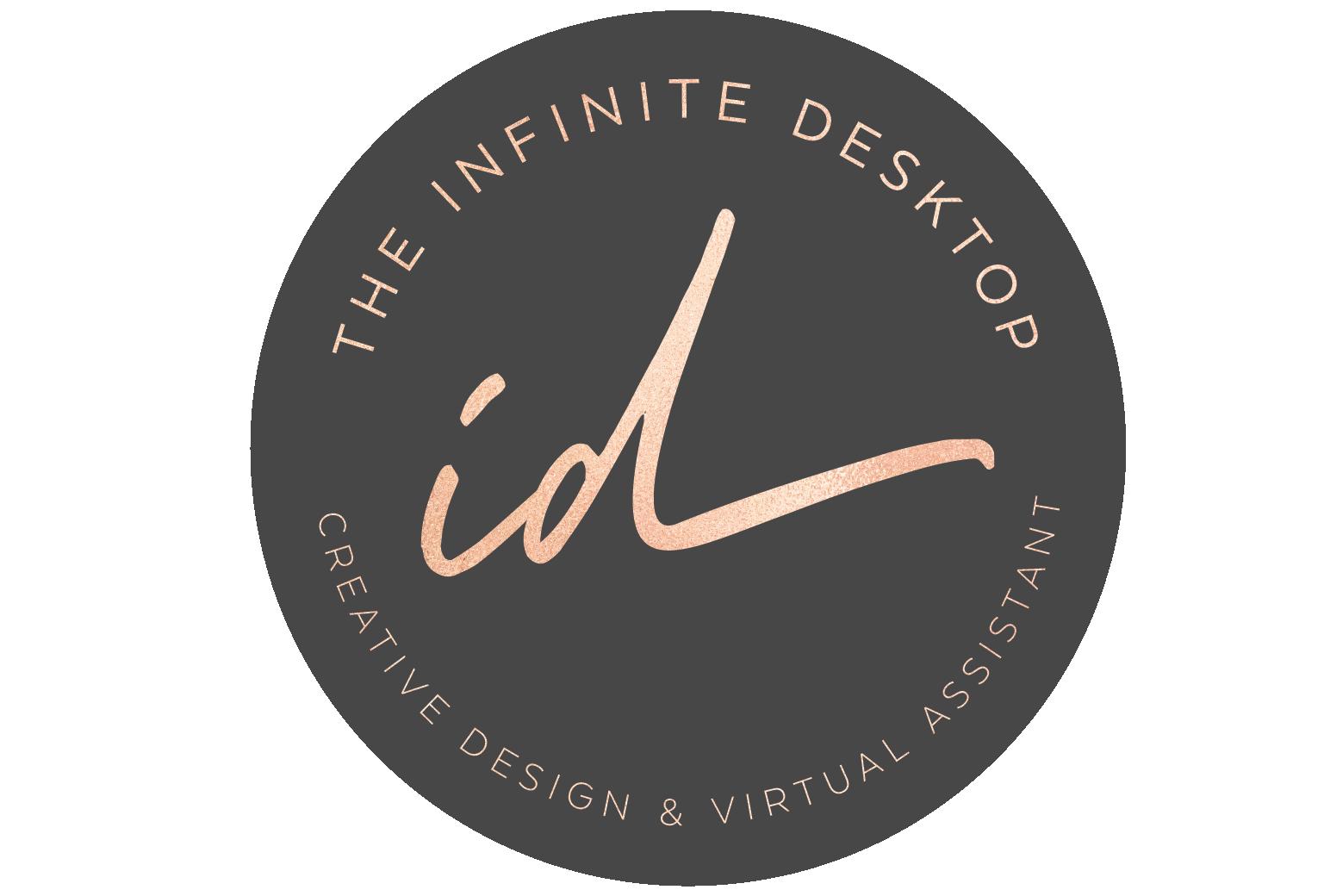 Logo-The Infinite Desktop_round-logo-dk grey rose gold font