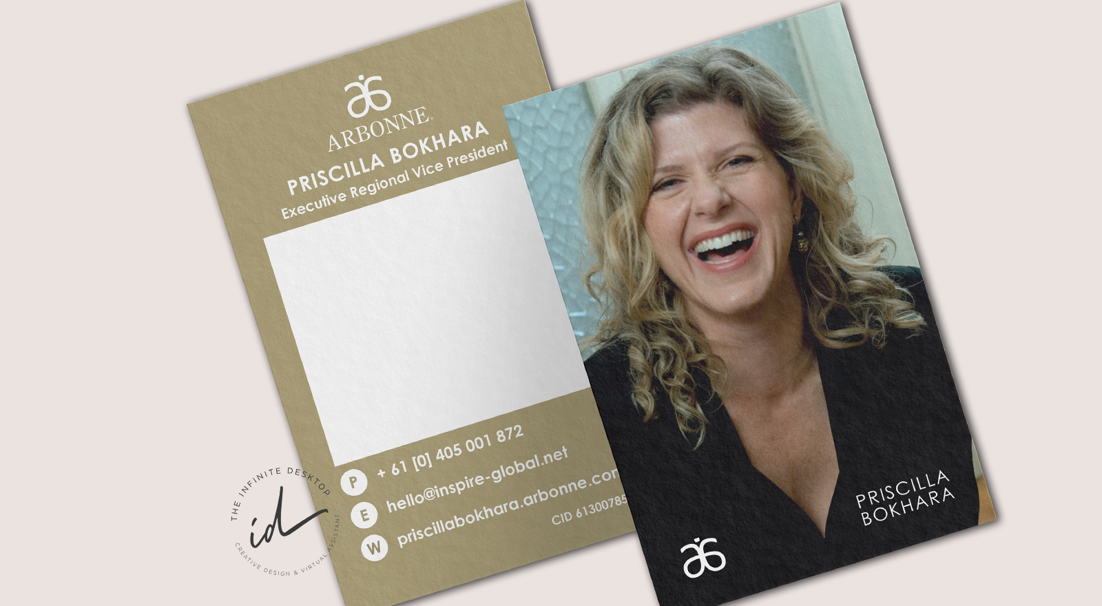 Priscilla Bokhara Independent Consultant for Arbonne Business Card design