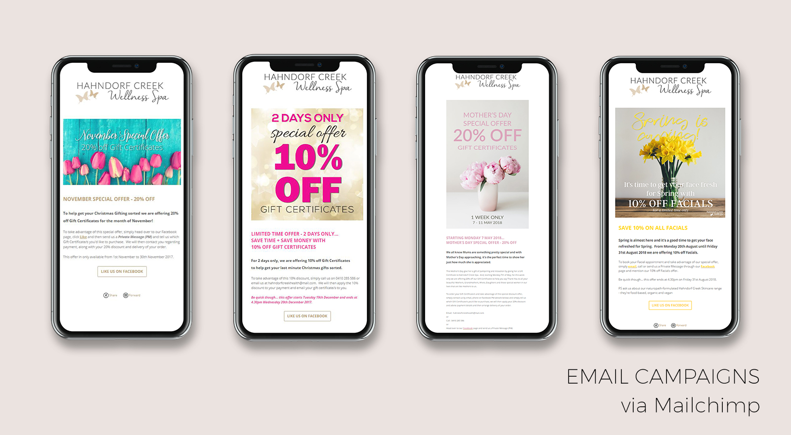 Email Campaign design for Hahndorf Creek Day Spa