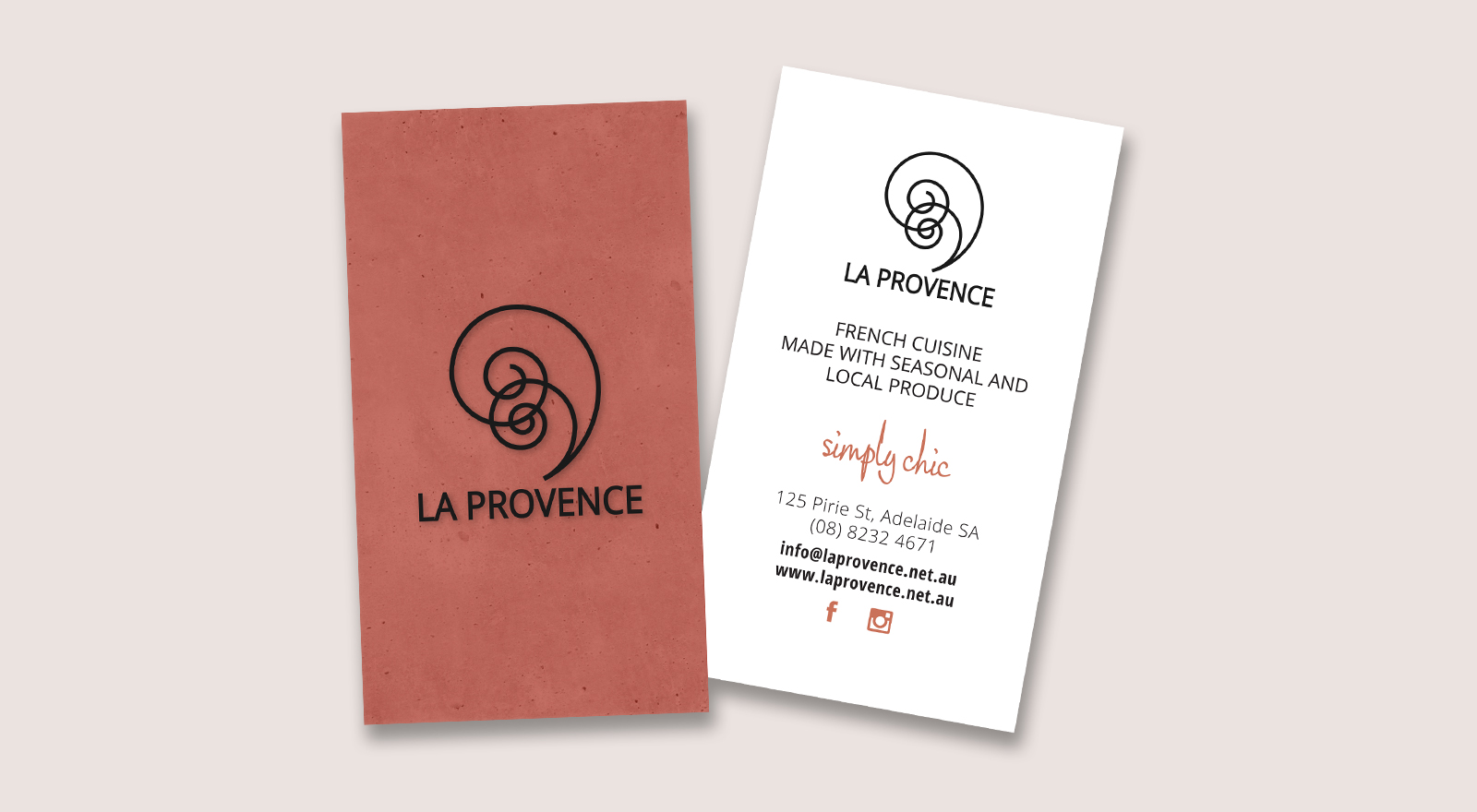 Restaurant Business Card Design for La Provence
