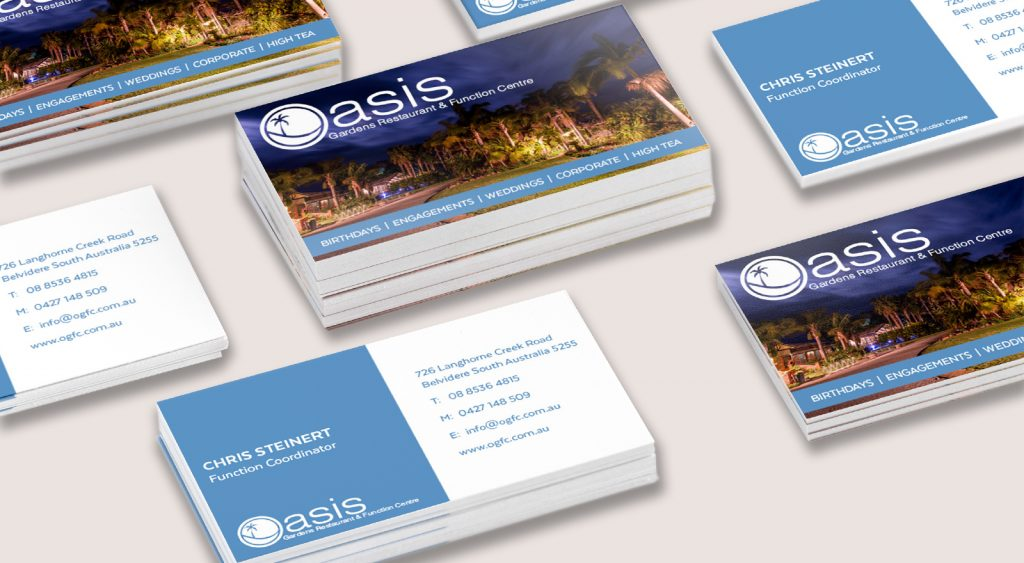OASIS GARDENS RESTAURANT BUSINESS CARDS