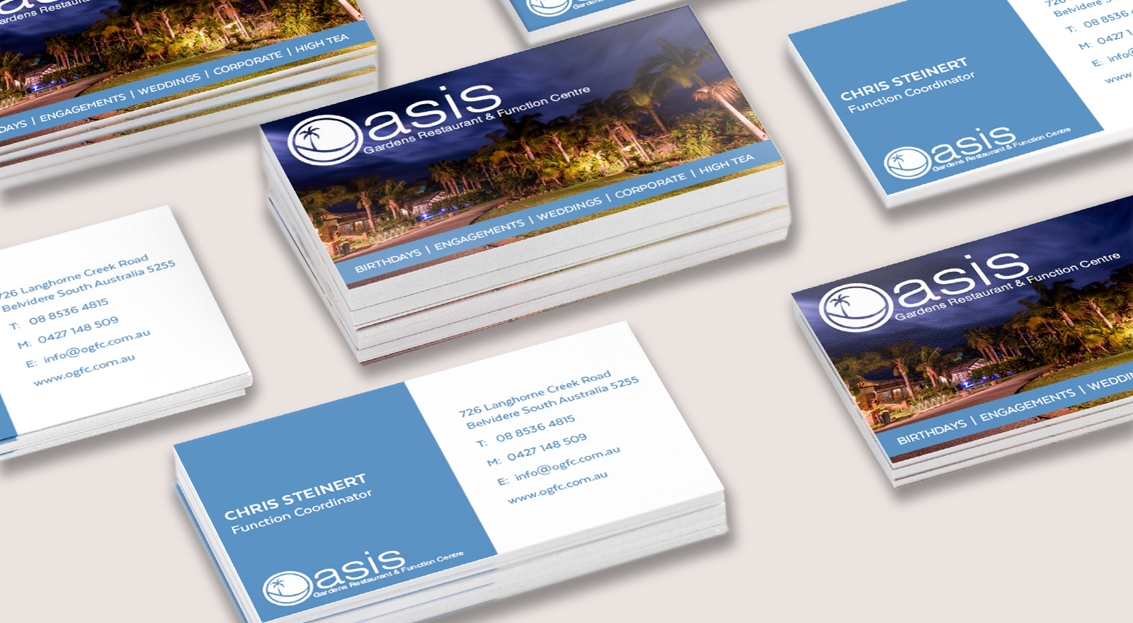 Business Card design for Oasis Gardens Restaurant