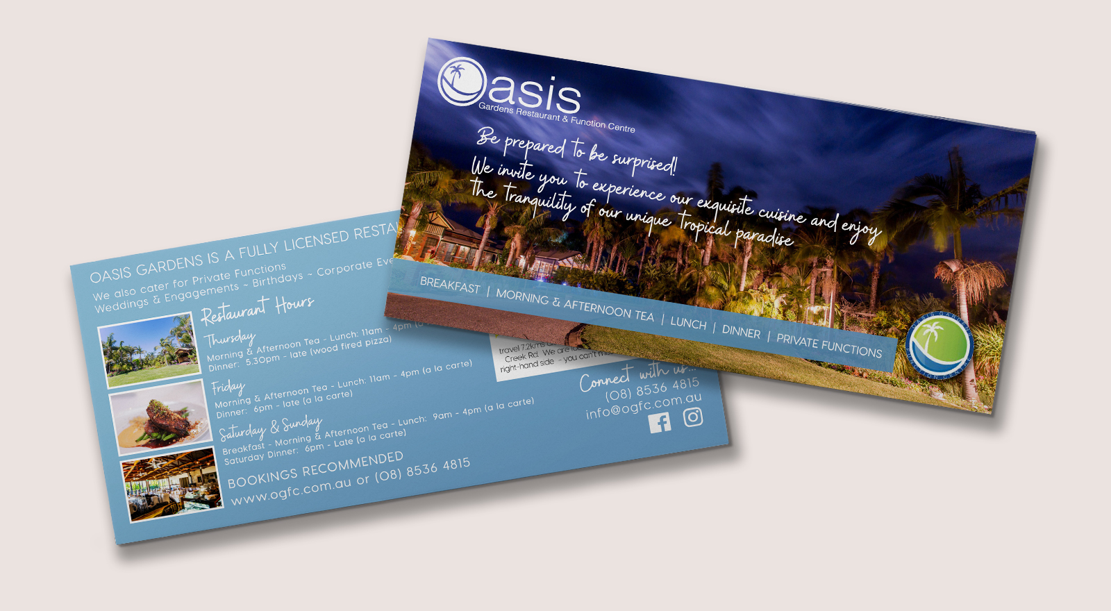 Restaurant Information Postcard design for Oasis Gardens