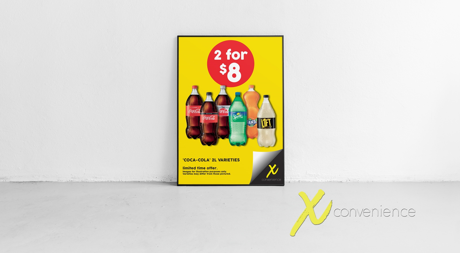 Large format point of sale sign X Convenience Stores