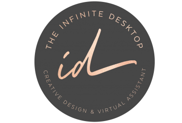 Logo-The Infinite Desktop_round-logo-dk grey rose gold font